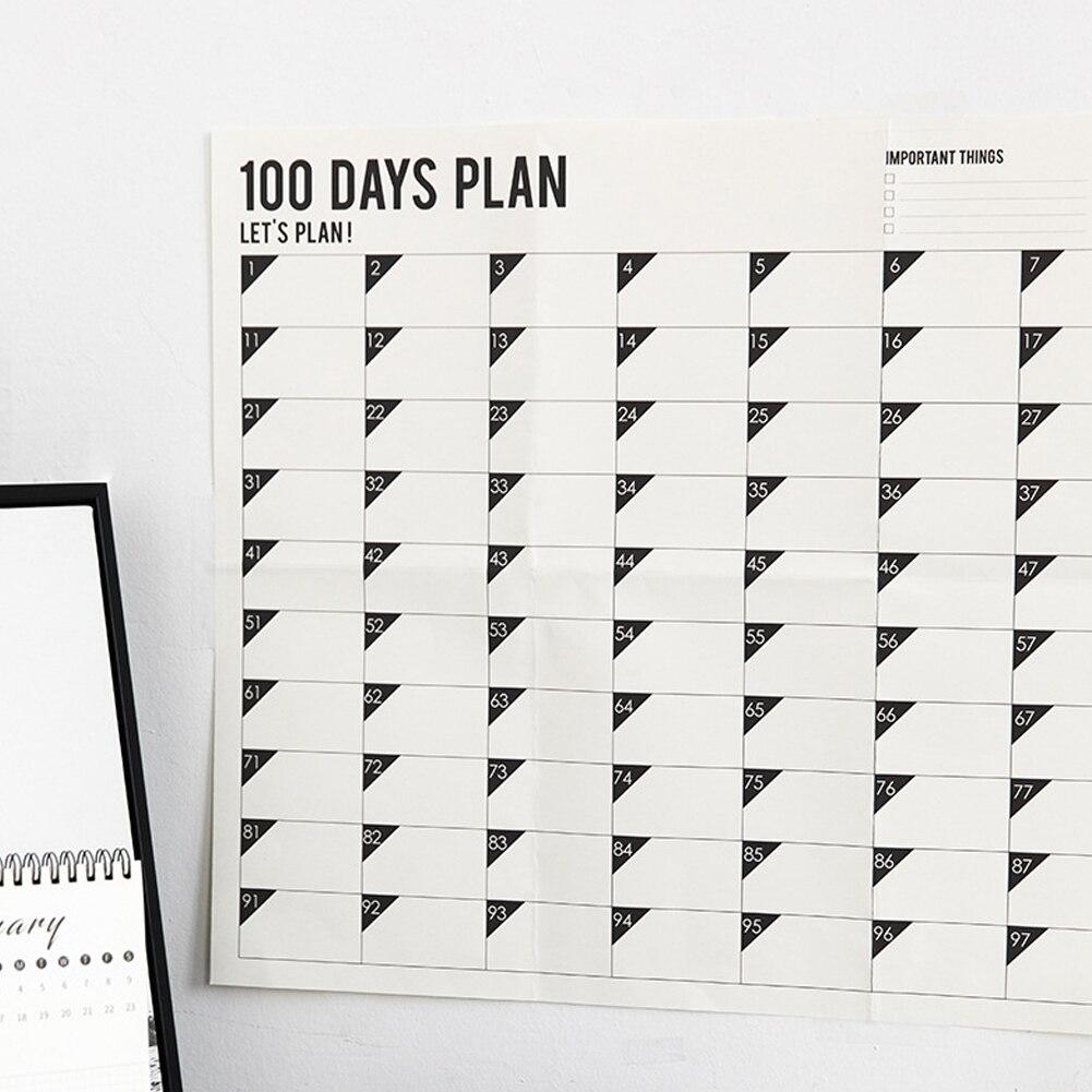 Annual Schedule Plan Sticker Wall 100-day Monthly Calendar Planner Memo Organiser Planner Calendar Planers 70x45cm