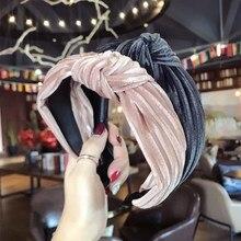 Winter Ladies Hairband Solid Color Flannel Headband Cross Kn