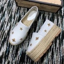 Mode Plattform Faulenzer Weibliche Casual Schuhe Echtem Schaffell Bee Frauen Espadrilles Schuhe Top Qualität frau Alle Jahreszeiten Schuhe