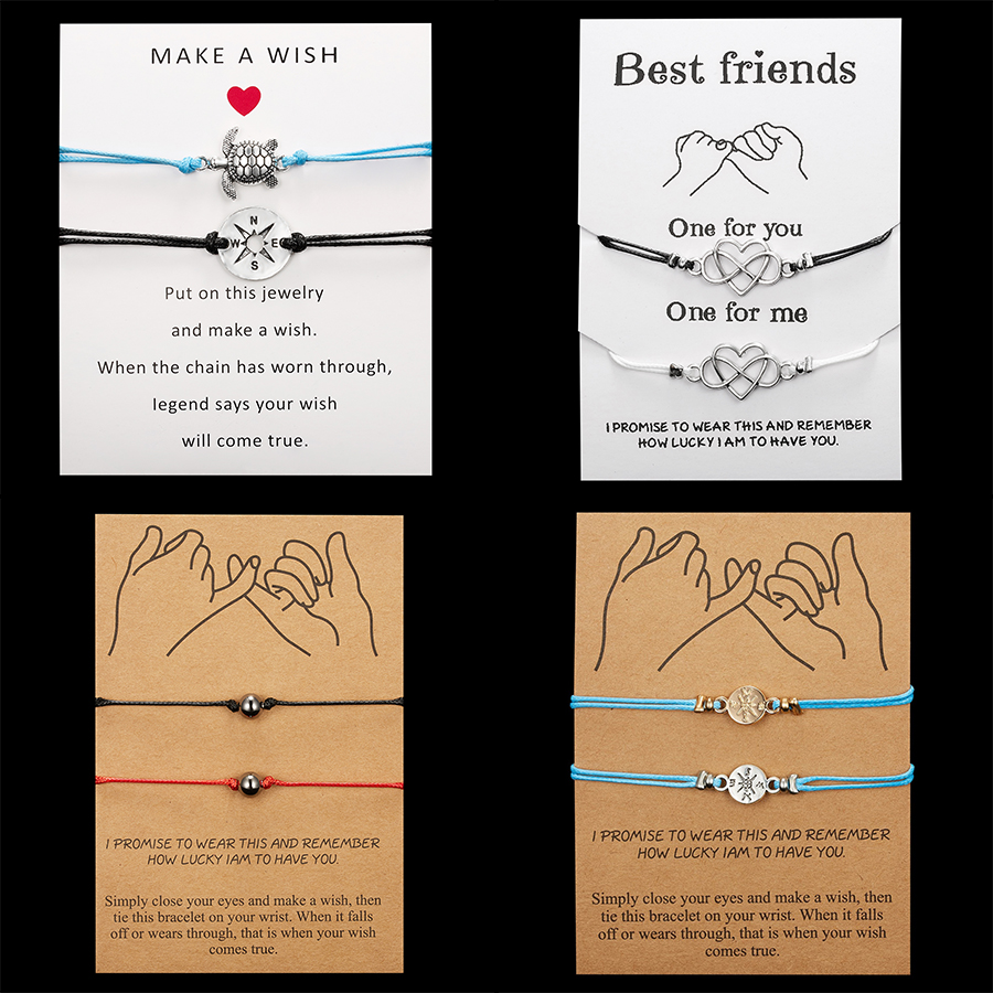 Fashion Infinite Love Bracelets Red Rope Chain Handwoven Couple Bracelets Wish Message Card Best Friend Jewelry Compass Bracelet image