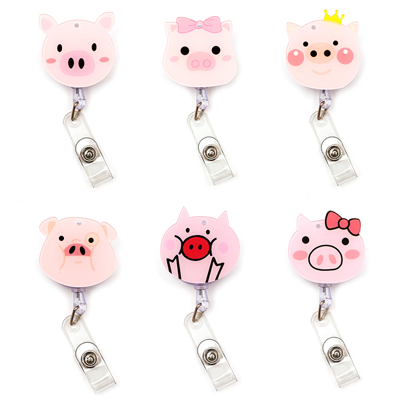 Cute Pink Pig Clown Retractable Creative Card Holder Badge Reel Nurse Exhibition Enfermera Girl Name Card Chest Boy