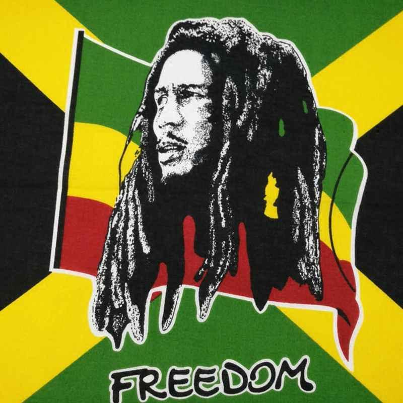 Festival Musik Jamaika Bendera Penyanyi Potret Unisex Kapas Saku Persegi Syal Musim Panas Bandana Ikat Kepala Hip-Hop Gelang Leher Dasi