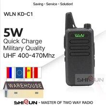 1 pc wln KD C1 mini rádio em dois sentidos da frequência ultraelevada do walkie talkie rt22 talki walki wln rádio 5 w mini portátil 2 maneira rádio uhf 400 470mh usb