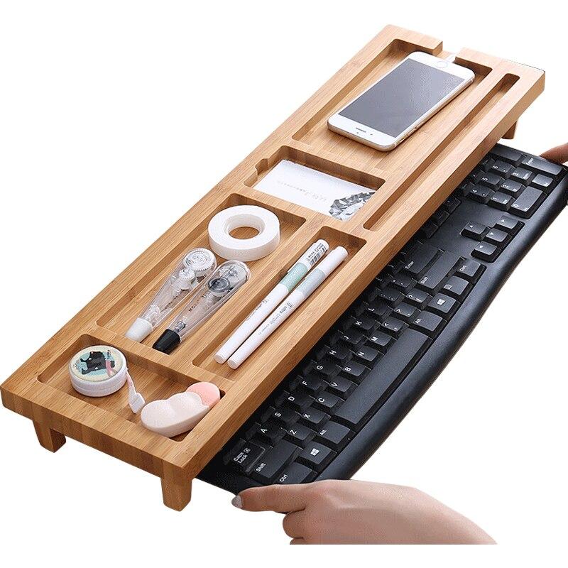 Étagère en bambou maison bureau petits articles stockage dortoir paresseux clavier étagère multi-fonction finition rack LB821101