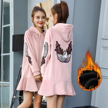 2019 embroidery will fall and winter pleuche loose double teamed with velvet thickening fleece in dress