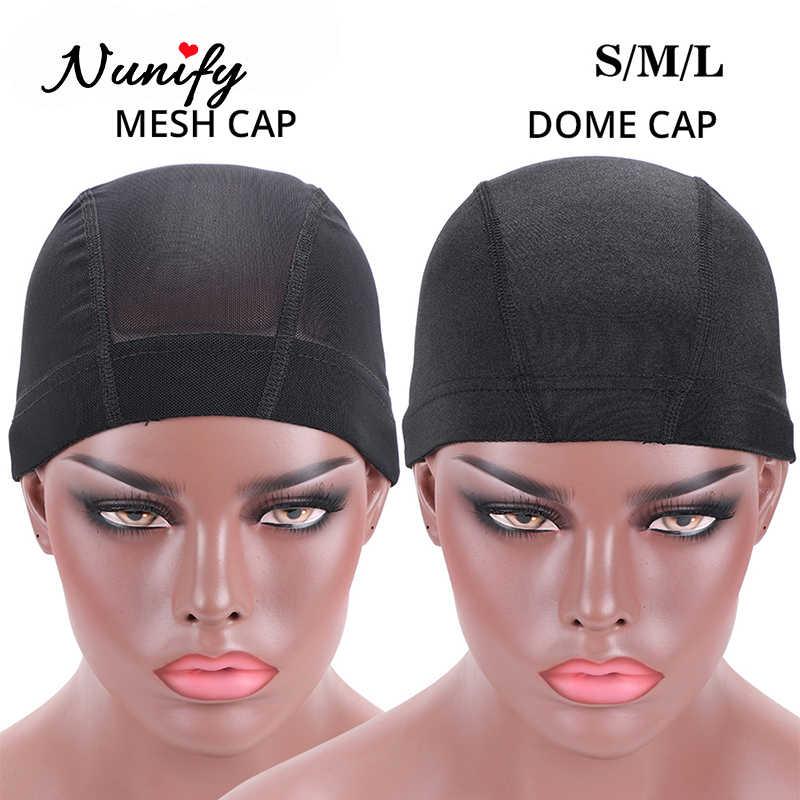 Nunify 1 Pcs Sml Groothandel Spandex Koepeldop Voor Motorkap Perruque Zwart Haarnetje Dome Cap Zwemmen Pruik Accessoires groothandel