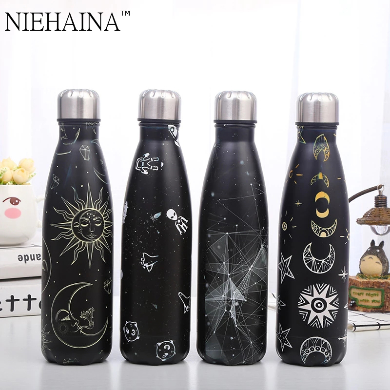 500ml Double-wall Insulated Vacuum Flask Stainless Steel Space Series Coke Thermos For Sport Water Bottles Portable Thermoses