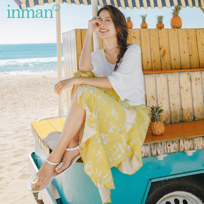INMAN 2020 Summer New Arrival Temperament Sweet Elegant Printed T-shirtSkirt Two-piece