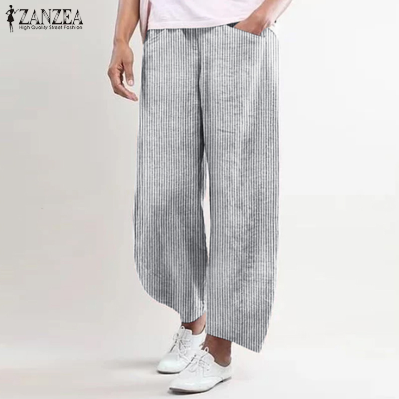 2019 ZANZEA Women's Wide Leg Trousers Casual Vintage Striped Pants Cotton Elastic Waist Turnip Female Pantalon Palazzo Plus Size