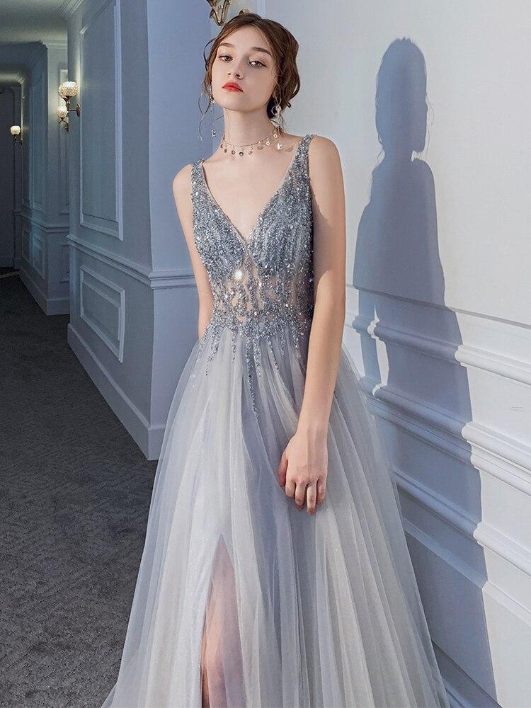 Neue Sexy Silber Grau Abendkleid Lange Abschnitt V ausschnitt Perspektive Netto Garn Stoff Handgemachte Perlen Prom Mode Königin Party Kleid