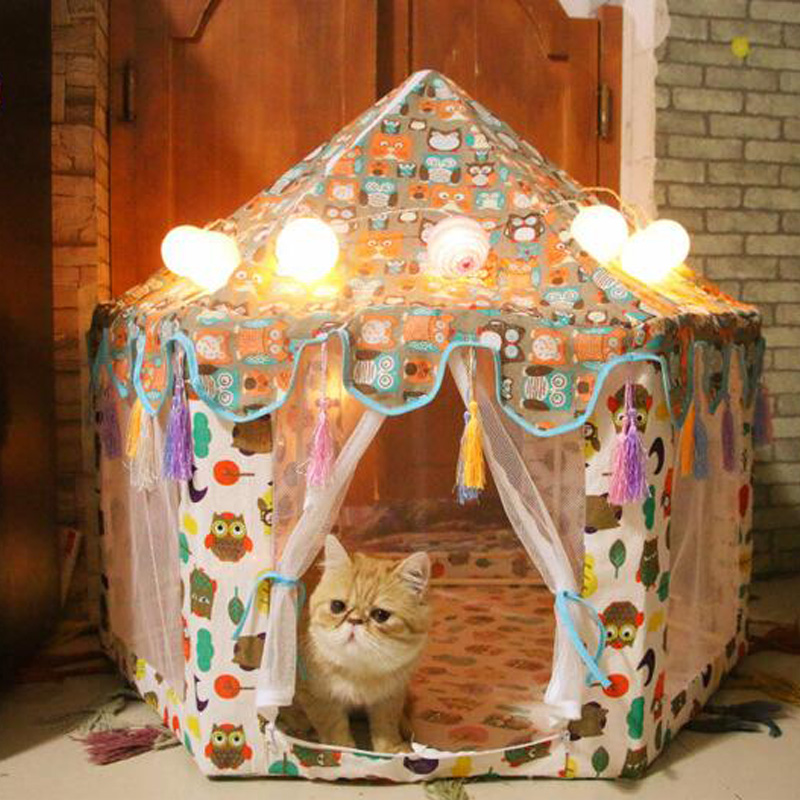 Hexagon Pet Tent Teepee Mongolian House Dog Bed Kennel House Kitten Cat Nest Mesh Tent Detachable image