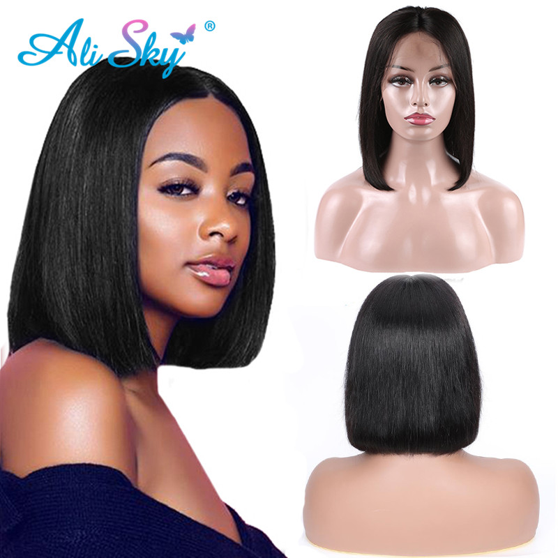 Ali Sky Short Lace Front Human Hair Wigs Brazilian Bob Wig With Pre Plucked Hairline Lace Wig For Black Women Remy Hair