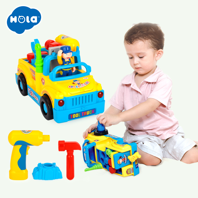 HOLA 789 Baby Toy Tool Truck With Electric Drill And Tools Car Fun Building Multifunctional Toy For Kid & Children Training IQ