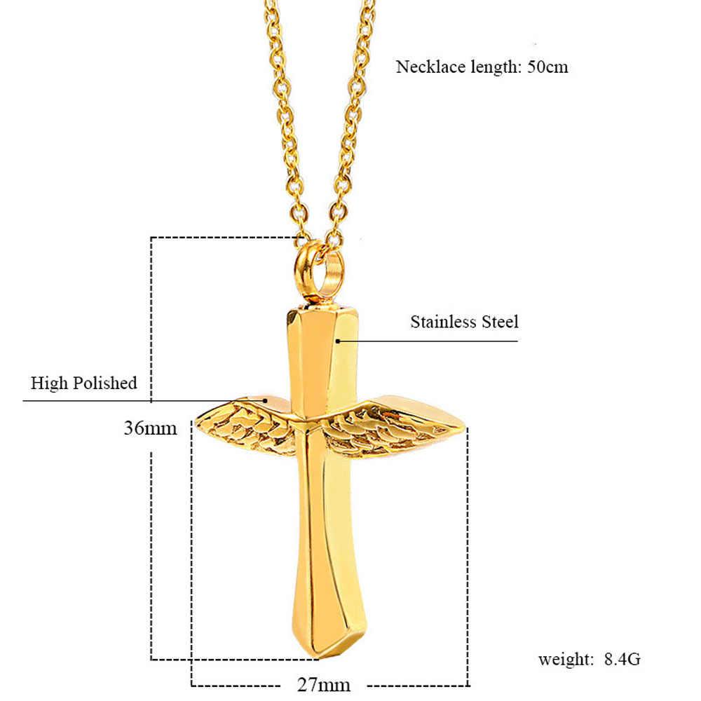 1 PC nowy anioł skrzydła naszyjniki z krzyżem dla kobiet mężczyzn ze stali stalowy wisiorek naszyjnik pamięci dla popiołów biżuteria do kremacji prezenty
