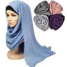 M12, viscose unie à pompons, foulard hijab pour femmes, longue écharpe, 180x90cm, 10 pièces, de haute qualité