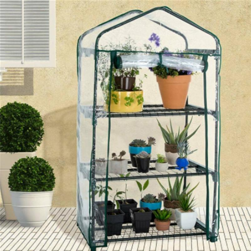 PVC Greenhouse Cover Folding Transparent Household Plant Cover Waterproof Garden Plants Covers Without Iron Stand Potted Protect