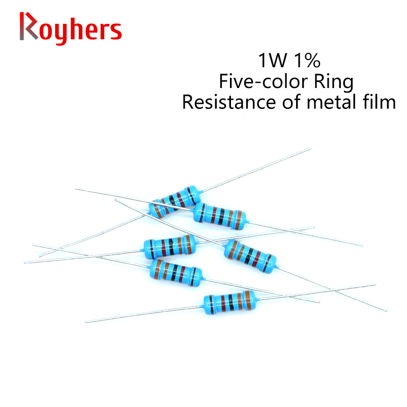 20Pcs 1W Metal Film Resistor 0R-22M 1% Tolerance 180R 270R 360R 430R 750R 1K 1.6K 2K 3K 12K 18K 24K 2 Ohm Electronics Resistance