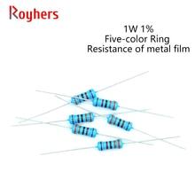 20Pcs 0R-22M 1W Filme De Metal Resistor 1% Tolerância 180R 270R 360R 430R 750R 1K 1.6K 24 18 12 3 2K K K K K 2 Ohm Resistência Eletrônica