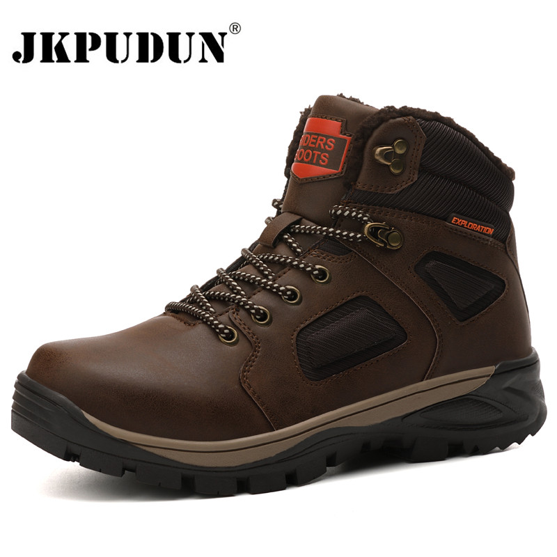 Leather Winter Men Boots Waterproof Warm Fur Snow Boots Men Outdoor Winter Work Casual Shoes Military Combat Ankle Boots JKPUDUN