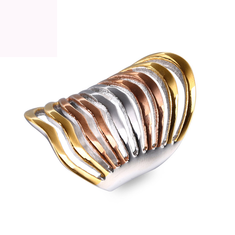 New three color plated finger ring fashion jewelry titanium steel rings for women free shipping