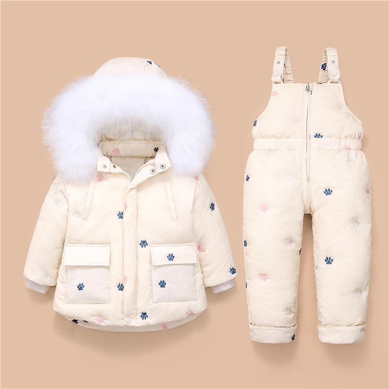 Новая одежда для малышей; Костюм с курткой-пуховиком для маленьких девочек: куртка + комбинезон комплект одежды утолщенный От 1 до 3 лет Детск...
