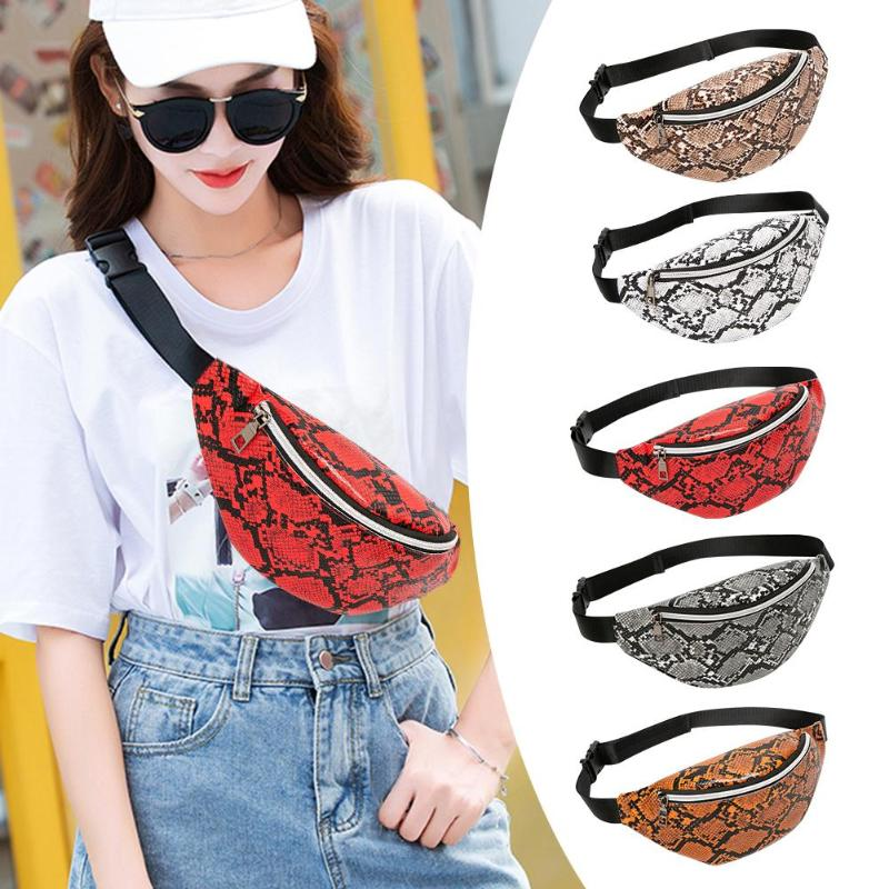 Creative Snake Print Shoulder Messenger Handbags Women Waist Fanny Belt Packs PU Leather Crossbody Chest Bags Phone Money Pouch
