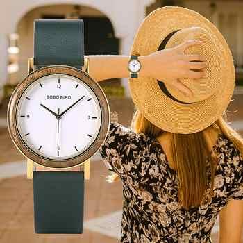 Montre femme BOBO oiseau bois montres pour femmes 304 acier inoxydable 6.5mm Ultra-mince japon mouvement montre bracelet en cuir véritable