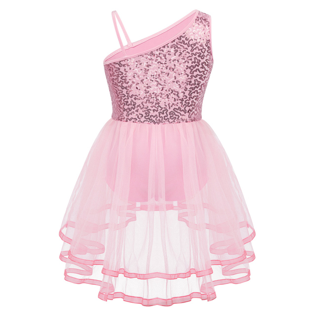 Kids Shiny Sequins One-shoulder Mesh Tutu Ballet Dress Gymnastics Leotard Girls Stage Performance Lyrical Dance Costumes