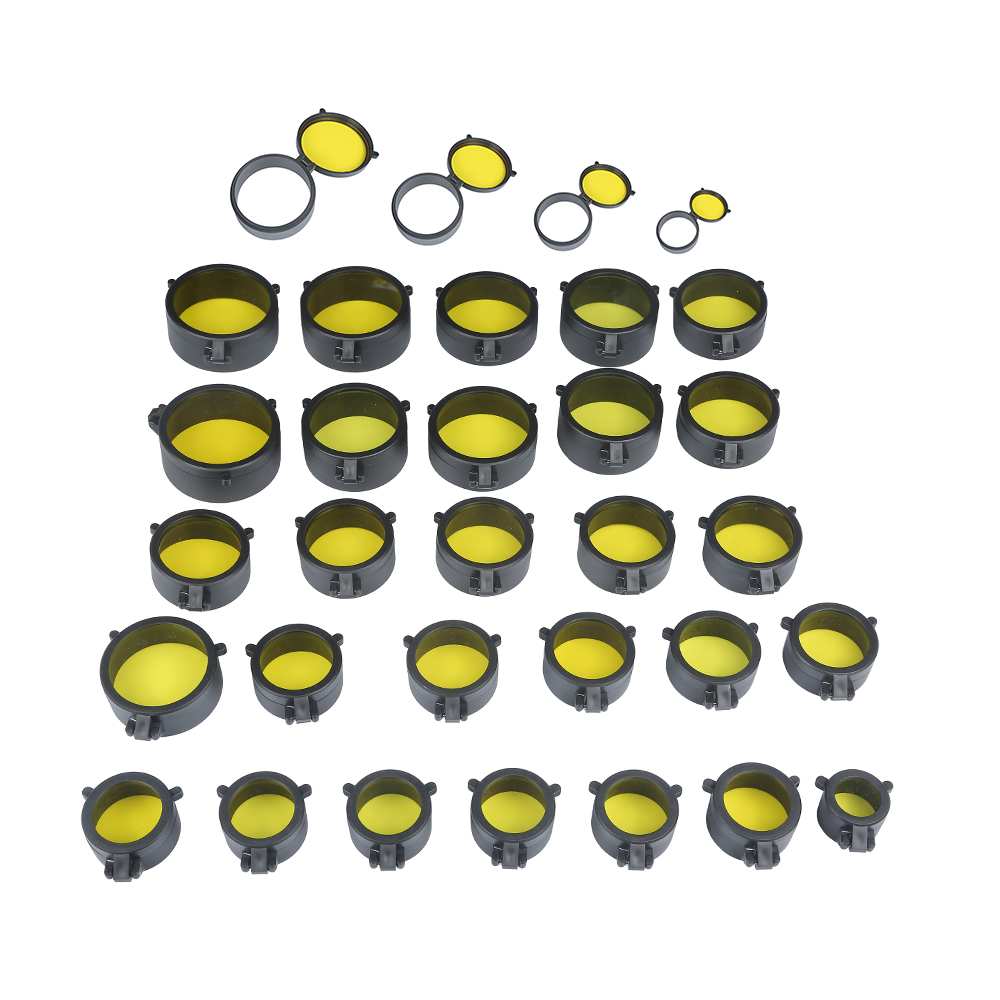 30-69MM Yellow Transparent Rifle Scope Lens Cover Flip Up Quick Spring Protection Cap Objective Lid For Airsoft Gun Caliber