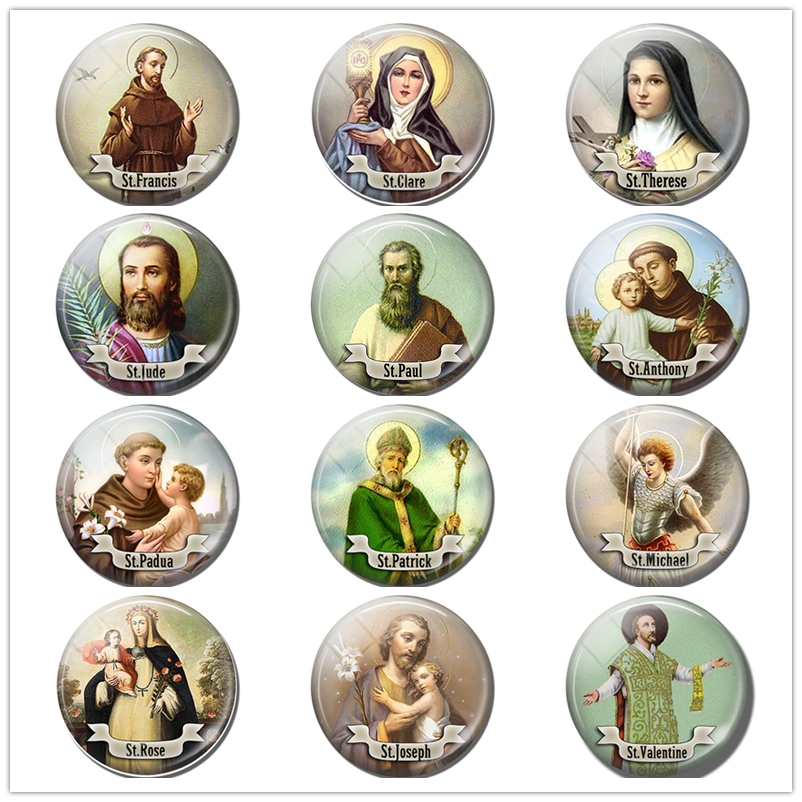 Handmade Round 25mm Glass Cabochon 12 Saint Picture Accessories Personality Gift For Christian Friends Religious Pendant Jewelry