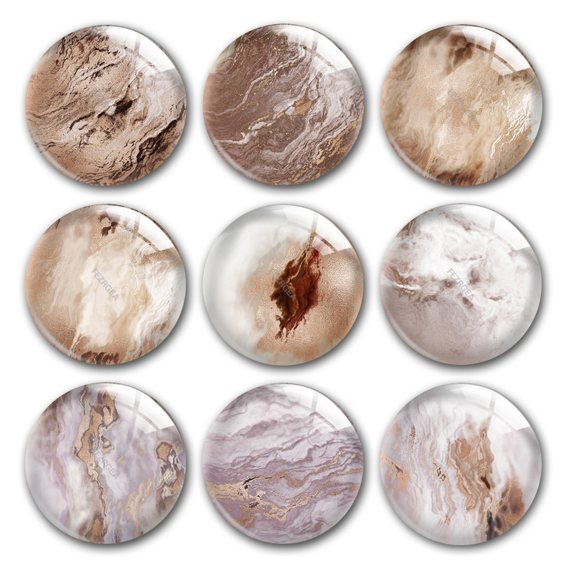 Marbling Glass Cabochon,Stone Material Pattern Round Photo Glass Cabochon Demo Flat Back Making Findings
