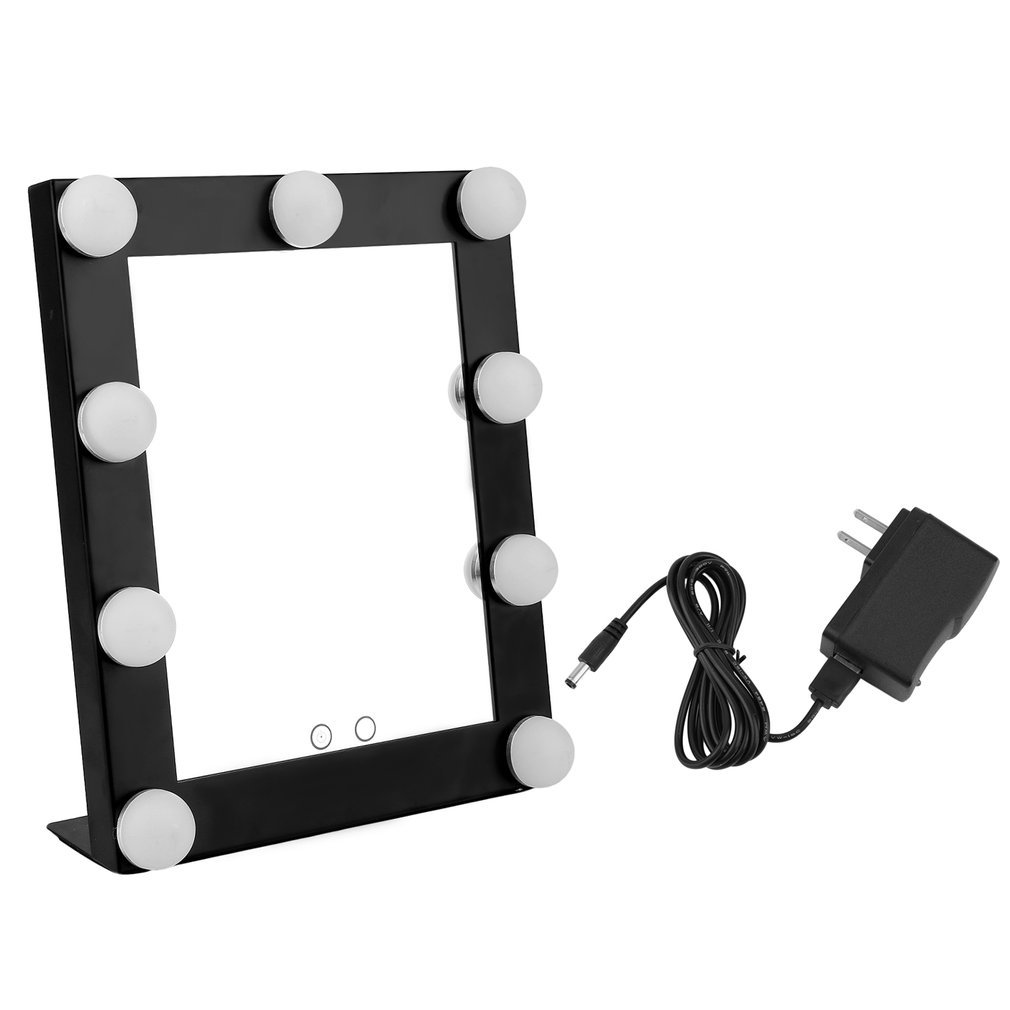 Vanity Tabletops Lighted Makeup Mirror With 9 LED Bulb Lights Dimmer Beauty Cosmetic Mirror Portable Touch Screen Mirrors Tool