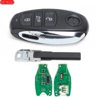 Keyecu inteligentny klucz zdalny 3 przycisk do Volkswagen Touareg 2011 2014 z małym kluczem 433MHz PCF7953 Chip w Kluczyki samochodowe od Samochody i motocykle na