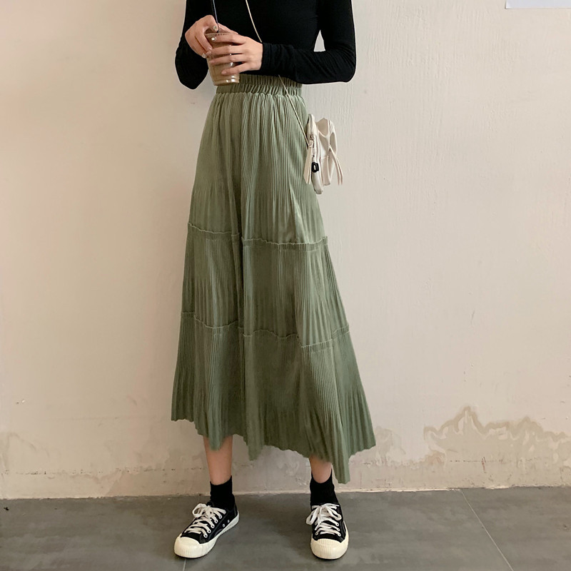 Photo Shoot Net Price Autumn New Style Korean-style Fashion Joint Pleated Skirt Mid-length Slimming High-waisted A- Line Long Sk