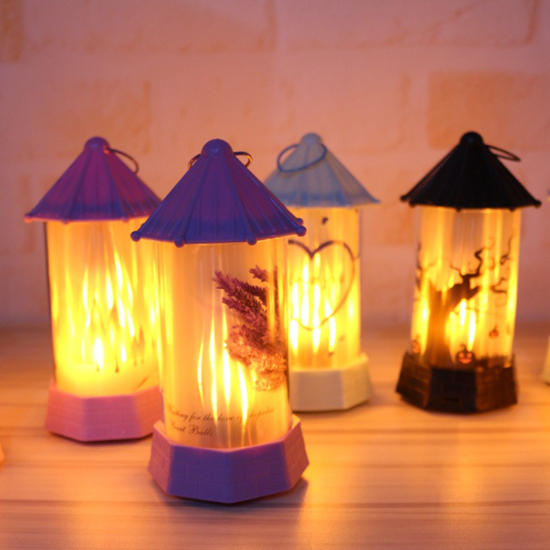 LED Lantern Plastic Flame Lamp Kids Gift Festival Holiday Atmosphere Halloween Lamp Halloween Castle Light Props Party Decor