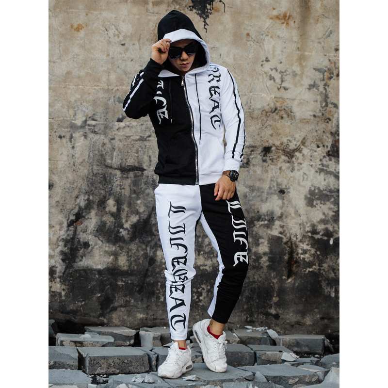 New 2019 Patchwrok Tracksuit Fashion Live Great Bran Men Sportswear 2 Piece Sets Sweatshirt hoodie Pants Sporting Suit Male 3xl in Men 39 s Sets from Men 39 s Clothing