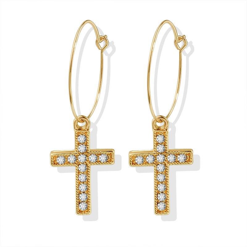 Vintage Gold Cross Drop Earrings Men and Women 2020 New Trend Small Long Dangle Ear Earrings Crystal Metal Party Earring Jewelry