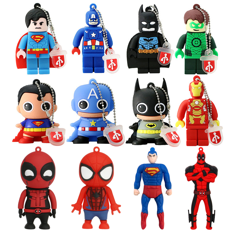 Usb Flash Drive Nueva Pen Drive Superhero Avenger/Superman/Batman/Iron Man Pendrive 16GB 32GB Cartoon Pen Drive Memory Storage