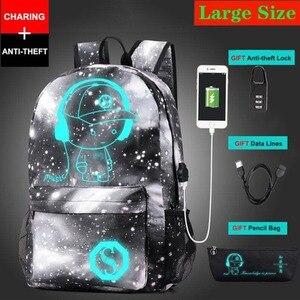 Image 5 - חדש נגד גנב תיק זוהר בית ספר לבנים בנות תלמיד בית הספר תרמיל המוצ ילה עם USB טעינת נמל מנעול ילקוט