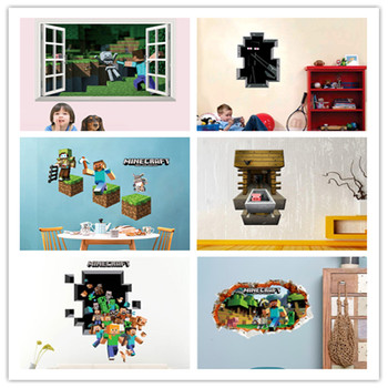 Mosaic 3D Game Wall Sticker Pixel Game Poster Home Decor  Wall Stickers For Kids Rooms