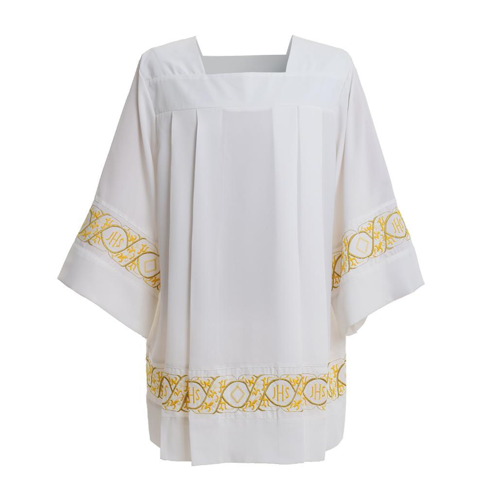 Église catholique messe surplis liturgique Cotta vêtement col carré Latin croix Robe - 4