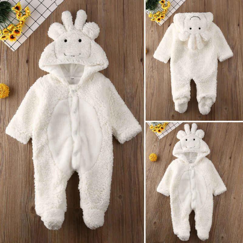 Invierno otoño bebé recién nacido niños niñas Linda ropa abajo botón borroso con capucha mono trajes ropa de abrigo