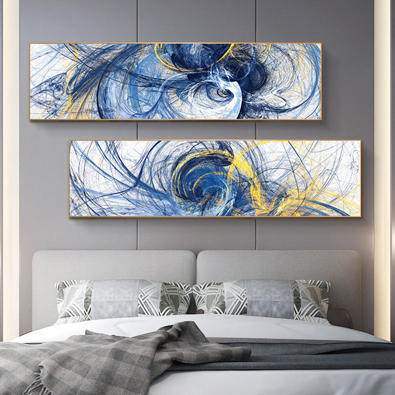 Modern Abstract Art Oil Painting on Canvas Poster Print Wall Art Colorful Abstract Line Pictures for Living Room Decor No Frame