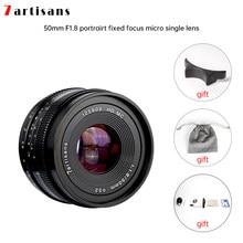 7artisans 50mm f1.8 objectif de Micro-caméra à mise au point manuelle à grande ouverture pour monture e-mount Fuji FX de Canon eo-m