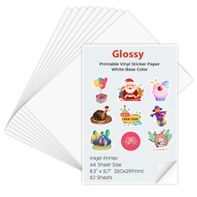 Sticker Paper Inkjet-Printer Self-Adhesive A4 Vinyl 10-Sheets for DIY Crafts Glossy