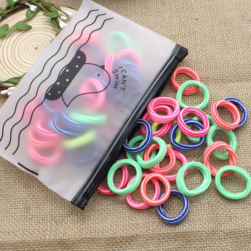 50pcs/Bag Striped Lovely style kids Elastic Hair Bands 6 colors mixing Children's Head rope hair accessories for girls