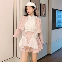Sweet Pink 3 Piece Sets Women Streetwear 2020 Ruffle Long Sleeve White Shirt Beading Tweed Short Pleated Skirt Suit S L