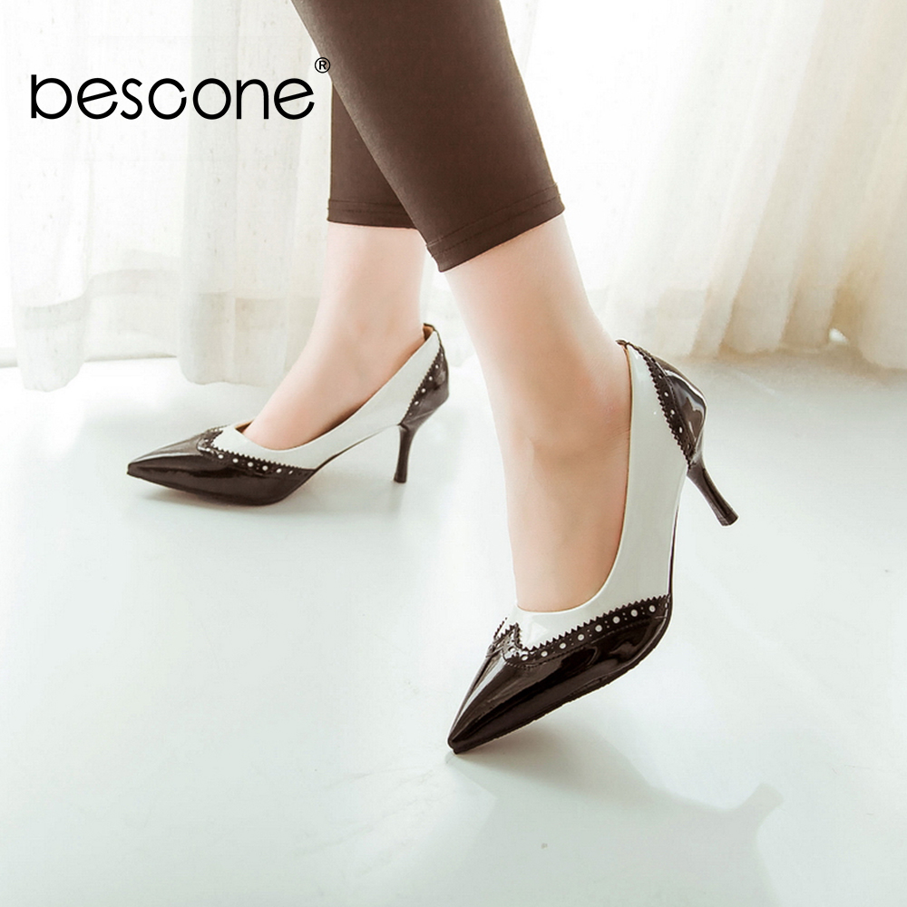 Image 3 - BESCONE Sexy Pointed Toe Ladies Pumps High Quality Patent Leather Shallow Thin Heel Shoes New Fashion Dress Women Pumps BM297Womens Pumps   -