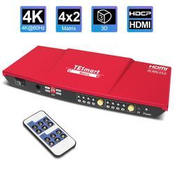 4K HDMI матрица 4x2 HDMI разделитель, сплиттер 4 порта вход и 2 порты вывода с аналоговым стерео (SPDIF) поддержка 4Kx2K @ 30 Гц HDCP