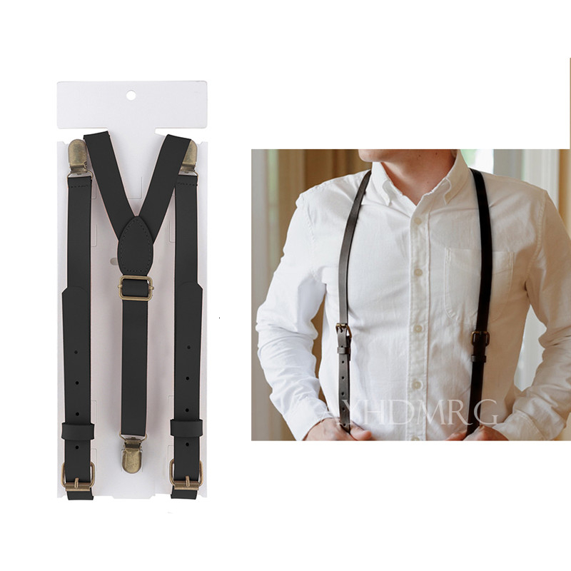 110*2cm Genuine Leather Suspenders Man's Braces 3 Clips Suspensorio Fashion Trousers Strap Father/Husband's Gift